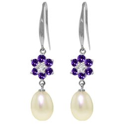 Genuine 9.01 ctw Amethyst, Pearl & Diamond Earrings Jewelry 14KT White Gold - REF-44M3T