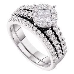 1.02 CTW Princess Diamond Soleil Bridal Engagement Ring 14KT White Gold - REF-124H4M
