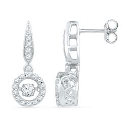 0.63 CTW Diamond Circle Moving Twinkle Solitaire Dangle Earrings 10KT White Gold - REF-64K4W