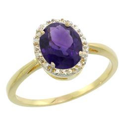 Natural 1.22 ctw Amethyst & Diamond Engagement Ring 14K Yellow Gold - REF-27G2M