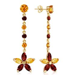 Genuine 4.8 ctw Citrine & Garnet Earrings Jewelry 14KT Yellow Gold - REF-56Y8F