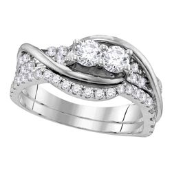 0.99 CTW Diamond 2-stone Bridal Wedding Engagement Ring 14KT White Gold - REF-97F4N