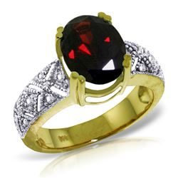 Genuine 3.2 ctw Garnet & Diamond Ring Jewelry 14KT Yellow Gold - REF-114K3V