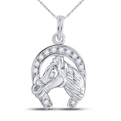 0.10 CTW Diamond Lucky Horseshoe Charm Pendant 10KT White Gold - REF-13W4K
