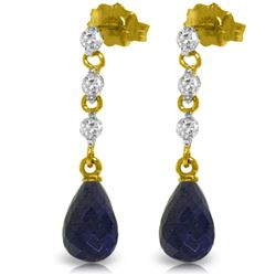 Genuine 6.9 ctw Sapphire & Diamond Earrings Jewelry 14KT Yellow Gold - REF-44V9W