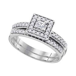 0.50 CTW Princess Diamond Square Halo Bridal Engagement Ring 10KT White Gold - REF-47W8K