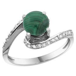 Natural 2.42 ctw malachite & Diamond Engagement Ring 14K White Gold - REF-51K4R