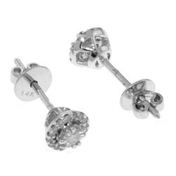 Genuine 0.16 ctw Diamond Anniversary Earrings Jewelry 14KT White Gold - REF-54T5A