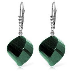 Genuine 30.65 ctw Green Sapphire Corundum & Diamond Earrings Jewelry 14KT White Gold - REF-62F3Z
