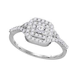 0.50 CTW Princess Diamond Bridal Engagement Ring 14k White Gold - REF-40H4M
