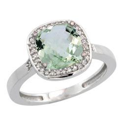 Natural 3.94 ctw Green-amethyst & Diamond Engagement Ring 10K White Gold - REF-29G2M