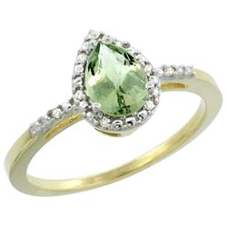 Natural 1.53 ctw green-amethyst & Diamond Engagement Ring 10K Yellow Gold - REF-18R9Z