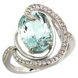 Natural 6.53 ctw aquamarine & Diamond Engagement Ring 14K White Gold - REF-103G8M