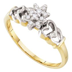 0.13 CTW Prong-set Diamond Small Cluster Ring 10KT Yellow Gold - REF-12N2F