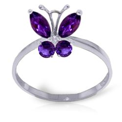 Genuine 0.60 ctw Amethyst Ring Jewelry 14KT White Gold - REF-28Y9F