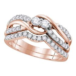 0.74 CTW Diamond 2-Stone Bridal Wedding Engagement Ring 14KT Rose Gold - REF-75M2H