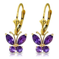 Genuine 1.24 ctw Amethyst Earrings Jewelry 14KT Yellow Gold - REF-38A2K