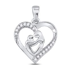 0.1 CTW Diamond Pendant 10KT White Gold - REF-14K3N