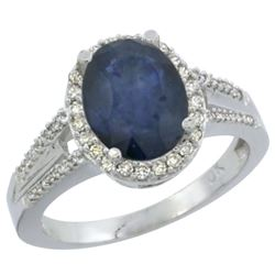 Natural 2.72 ctw blue-sapphire & Diamond Engagement Ring 10K White Gold - REF-105K2R