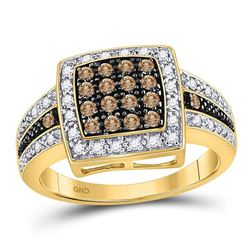 0.50 CTW Cognac-brown Color Diamond Square Cluster Ring 10KT Yellow Gold - REF-30W2K