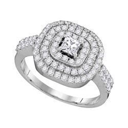 1.05 CTW Princess Diamond Solitaire Triple Halo Bridal Ring 14KT White Gold - REF-109M4H