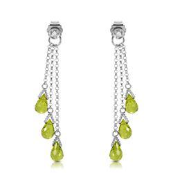 Genuine 10.53 ctw Peridot & Diamond Earrings Jewelry 14KT White Gold - REF-33P7H