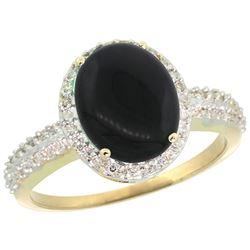 Natural 2.56 ctw Onyx & Diamond Engagement Ring 14K Yellow Gold - REF-39K7R