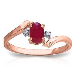 Genuine 0.46 ctw Ruby & Diamond Ring Jewelry 14KT Rose Gold - REF-29V3W