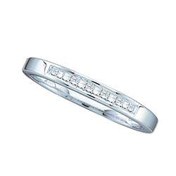 0.15 CTW Princess Channel-set Diamond Slender Ring 14KT White Gold - REF-25F4N