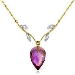 Genuine 9.52 ctw Amethyst & Diamond Necklace Jewelry 14KT Yellow Gold - REF-36Z3N