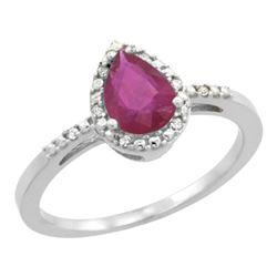 Natural 1.03 ctw ruby & Diamond Engagement Ring 10K White Gold - REF-18A9V