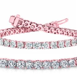 Natural 10.03ct VS-SI Diamond Tennis Bracelet 18K Rose Gold - REF-1058H6R