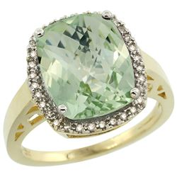 Natural 5.28 ctw Green-amethyst & Diamond Engagement Ring 14K Yellow Gold - REF-53X2A