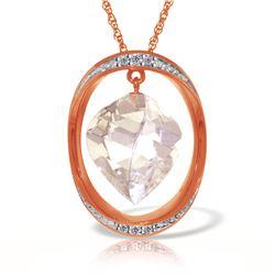 Genuine 12.9 ctw White Topaz & Diamond Necklace Jewelry 14KT Rose Gold - REF-113Y6F