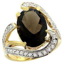 Natural 6.22 ctw smoky-topaz & Diamond Engagement Ring 14K Yellow Gold - REF-134M9H