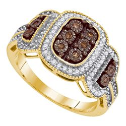 0.33 CTW Cognac-brown Color Diamond Cluster Ring 10KT Yellow Gold - REF-32Y9X