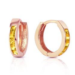 Genuine 0.70 ctw Citrine Earrings Jewelry 14KT Rose Gold - REF-36Y3F