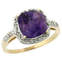 Natural 3.92 ctw Amethyst & Diamond Engagement Ring 10K Yellow Gold - REF-26R7Z