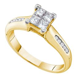 0.63 CTW Princess Diamond Cluster Bridal Engagement Ring 14KT Yellow Gold - REF-109X4Y