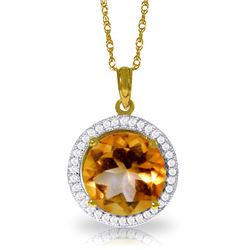 Genuine 6.2 ctw Citrine & Diamond Necklace Jewelry 14KT Yellow Gold - REF-70P6H