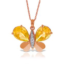 Genuine 7.1 ctw Citrine & Diamond Necklace Jewelry 14KT Rose Gold - REF-126W5Y