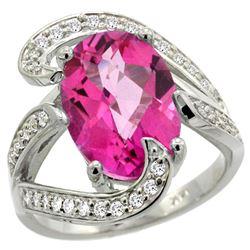 Natural 6.22 ctw pink-topaz & Diamond Engagement Ring 14K White Gold - REF-134N9G