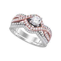 1 CTW Diamond Bridal Wedding Engagement Ring 14KT White Gold - REF-172F4N