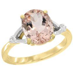 Natural 2.91 ctw Morganite & Diamond Engagement Ring 10K Yellow Gold - REF-48H6W