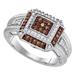 0.50 CTW Cognac-brown Color Diamond Square Cluster Roped Ring 10KT White Gold - REF-34N4F