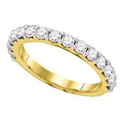 1 CTW Pave-set Diamond Single Row Wedding Ring 14KT Yellow Gold - REF-75F2N