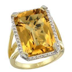 Natural 13.72 ctw Whisky-quartz & Diamond Engagement Ring 14K Yellow Gold - REF-73V9F