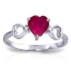 Genuine 1.01 ctw Ruby & Diamond Ring Jewelry 14KT White Gold - REF-43A2K