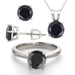 14K White Gold SET 8.0CTW Black Diamond Ring, Earrings, Necklace - REF-597Y2X-WJ13345