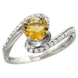 Natural 0.99 ctw citrine & Diamond Engagement Ring 10K White Gold - REF-42H2W